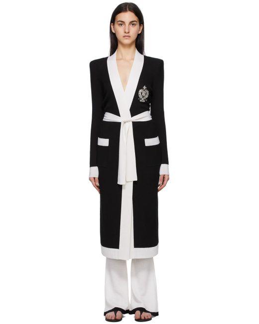 Balmain ブラック & ホワイト コート Black