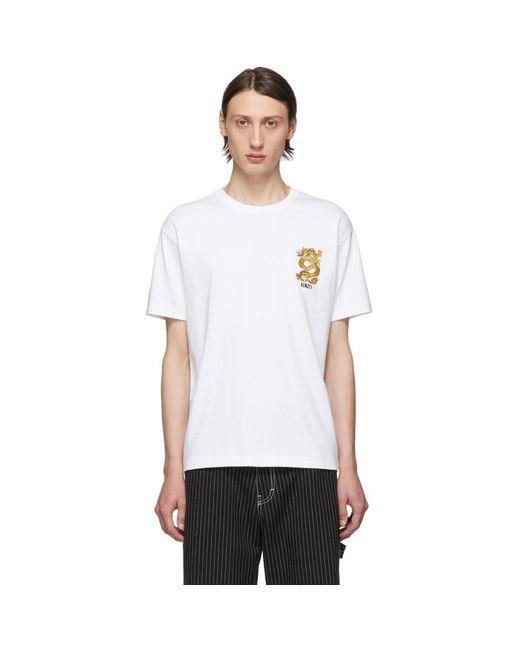 メンズ KENZO 限定エディション ホワイト エンブロイダリー ドラゴン T シャツ White