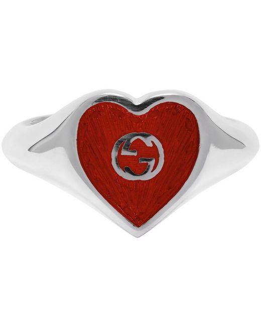 Gucci シルバー & レッド Interlocking G Heart リング Metallic