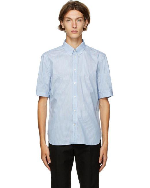 メンズ Alexander McQueen ブルー & ホワイト ストライプ ショート シャツ Blue