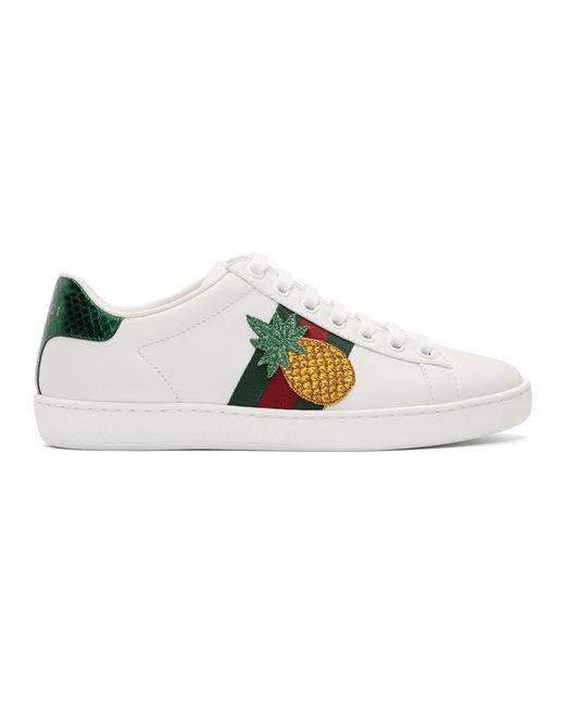 Gucci ホワイト パイナップル エース スニーカー White