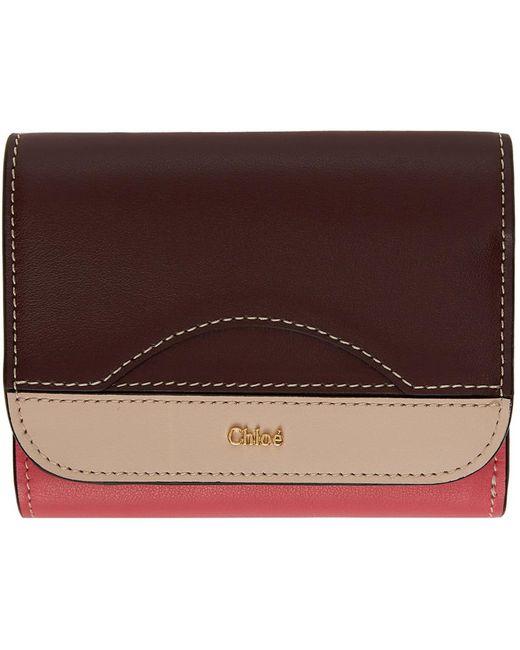 Chloé ピンク & バーガンディ スモール Walden トライフォールド ウォレット Multicolor