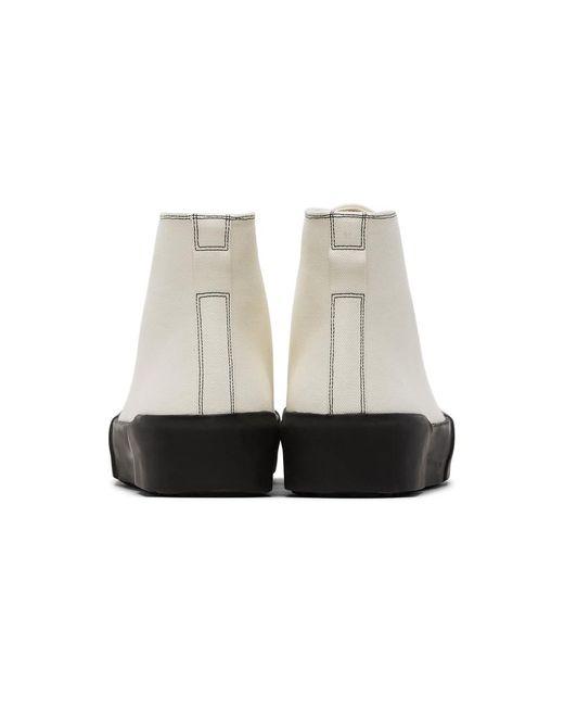 メンズ Jil Sander オフホワイト キャンバス ハイトップ スニーカー White