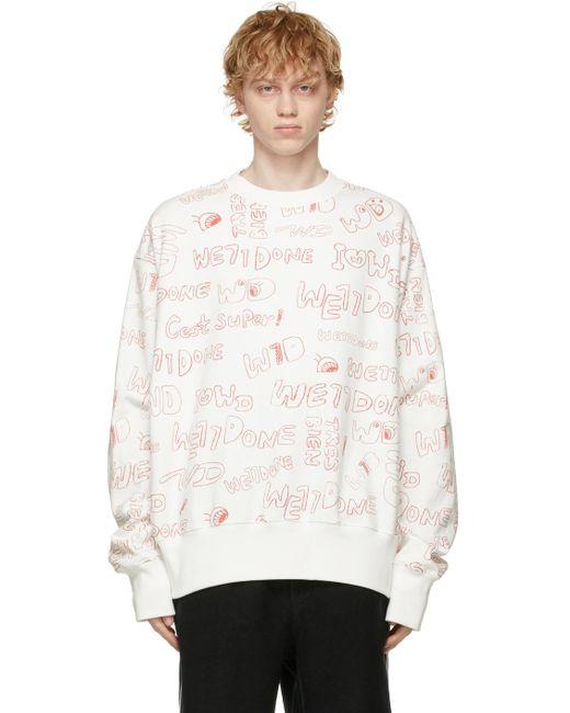 メンズ we11done ホワイト Graffiti スウェットシャツ White