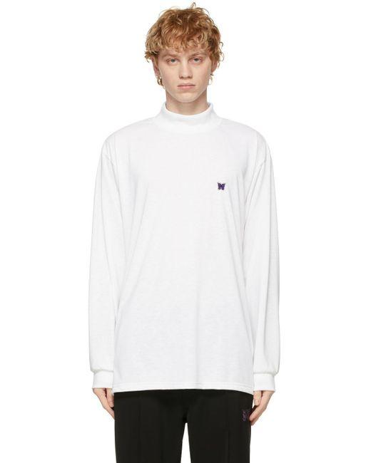 メンズ Needles ホワイト ロゴ ロング スリーブ T シャツ White