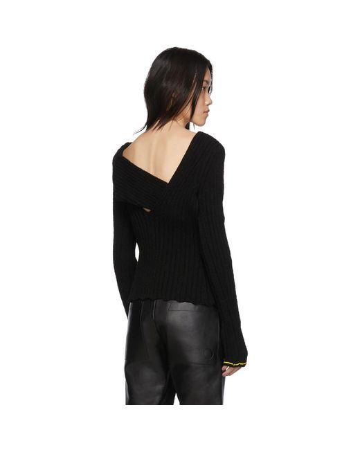 Bottega Veneta ブラック ブークレ ドレープ セーター Black
