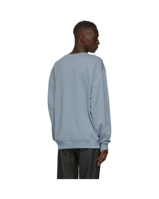 メンズ Acne ブルー ロゴ パッチ スウェットシャツ Blue