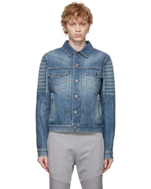 メンズ Balmain ブルー ロゴ デニム ジャケット Blue