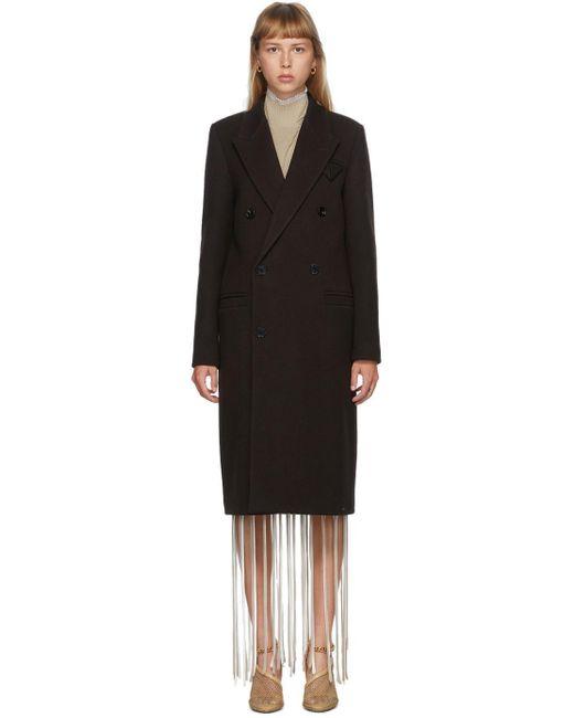 Bottega Veneta ブラウン キャバルリー ツイル ダブルブレスト コート Black