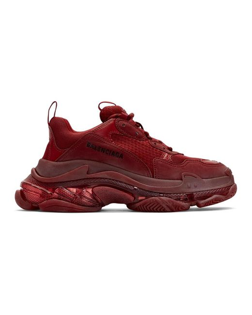 Balenciaga Red Burgundy Triple S Sneakers for men
