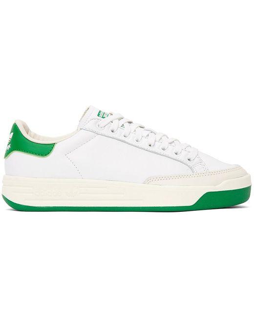 メンズ Adidas Originals ホワイト & グリーン Rod Laver スニーカー Green