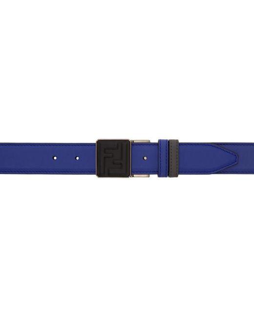 Fendi | Reversible Grey And Blue Signature Logo Belt for Men | Lyst