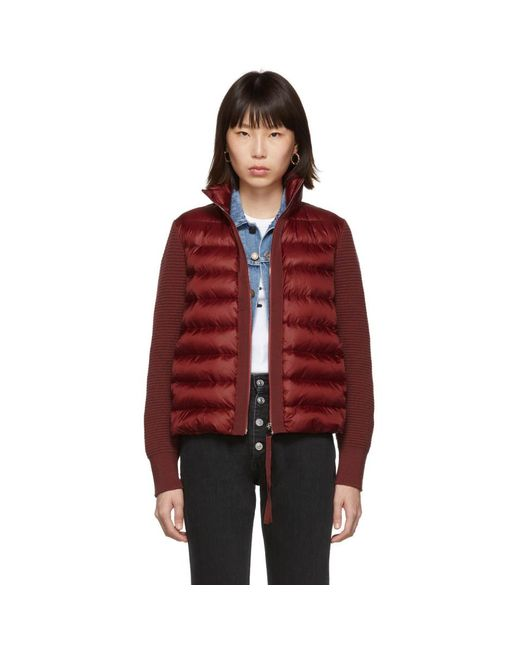 Moncler Red Down Knit Combo Jacket