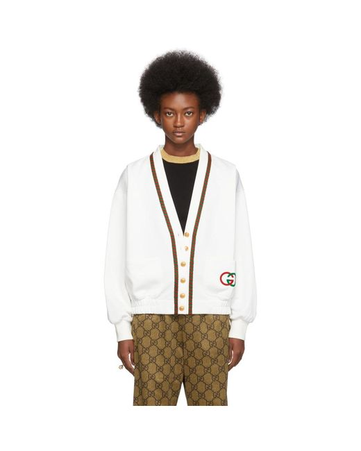Gucci ホワイト ジャージ カーディガン White