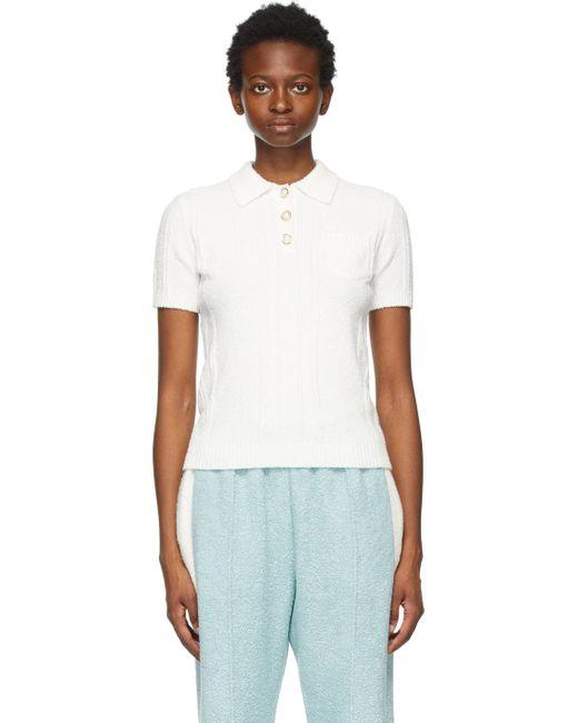 CASABLANCA ホワイト Bouclé Knit ポロシャツ White