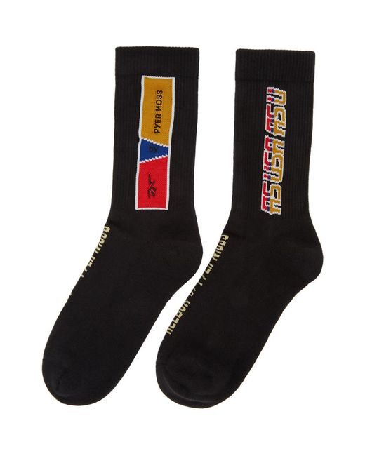 REEBOK X PYER MOSS Black Logo Socks for men