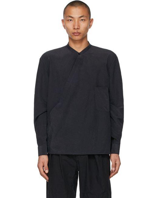 メンズ Lemaire グレー シルク Wrapover シャツ Multicolor
