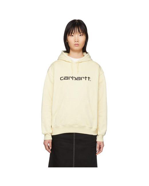 Carhartt WIP オフホワイト ロゴ フーディ Black
