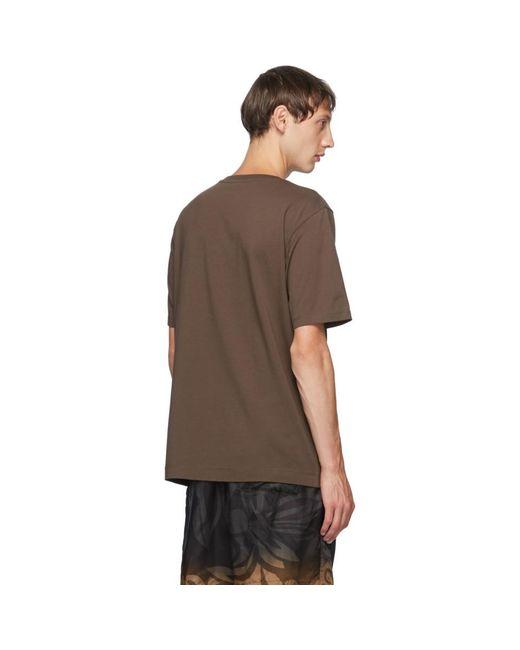 メンズ Dries Van Noten ブラウン ラウンド カラー T シャツ Brown
