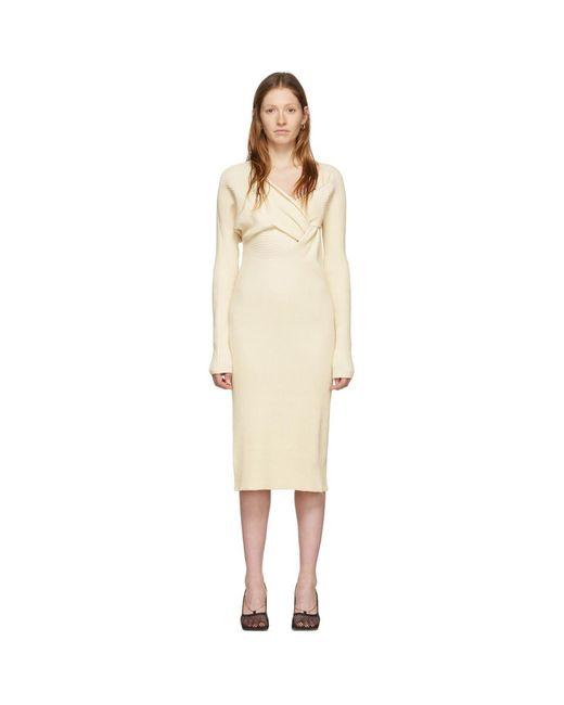 Bottega Veneta オフホワイト ドレープ ニット ドレス White