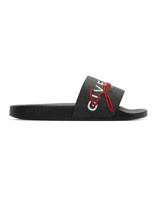 メンズ Givenchy ブラック And レッド ロゴ フラット スライド Red