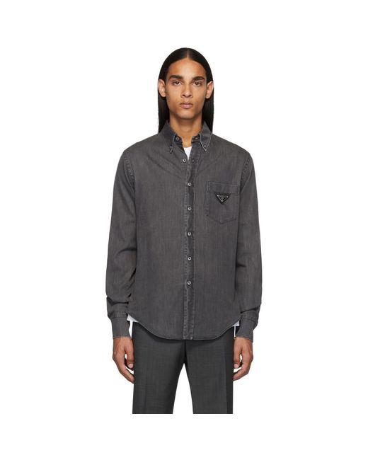 メンズ Prada ブラック デニム メタル トライアングル シャツ Black