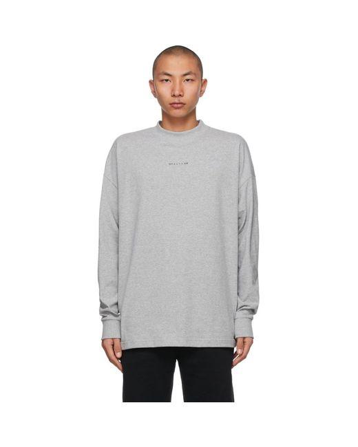 メンズ 1017 ALYX 9SM グレー Visual ロゴ ロング スリーブ T シャツ Gray