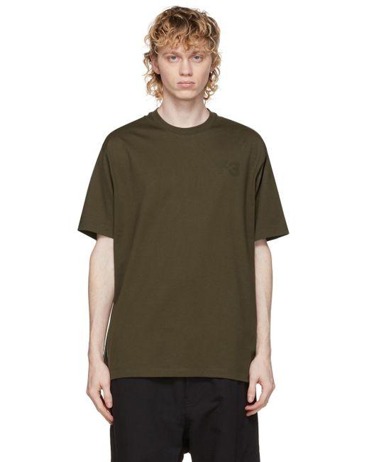 メンズ Y-3 カーキ ロゴ T シャツ Multicolor