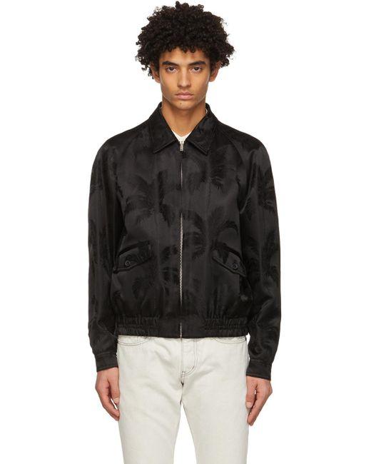 メンズ Saint Laurent ブラック パーム Teddy ジャケット Black