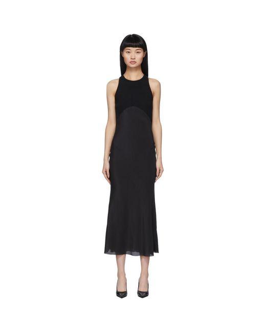 Haider Ackermann ブラック ファブリック コンビネーション ドレス Black