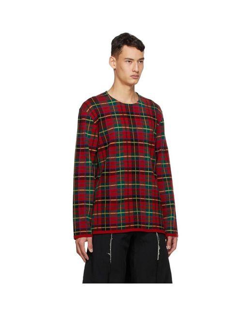 メンズ Comme des Garçons レッド インタルシア タータン クルーネックセーター Red
