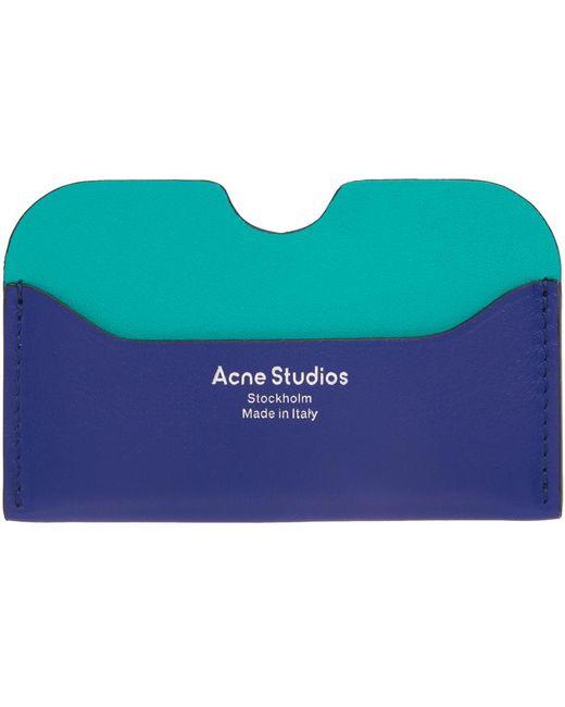 メンズ Acne ブルー ロゴ カード ケース Blue