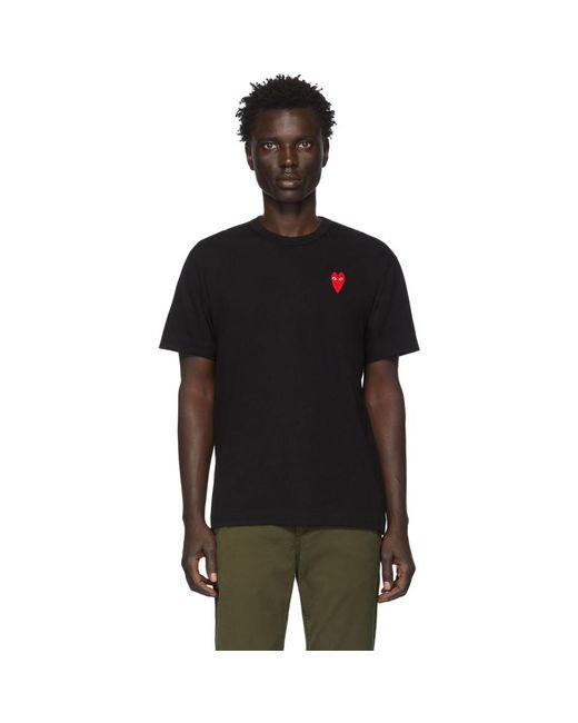メンズ COMME DES GARÇONS PLAY ブラック And レッド ロング ハート パッチ T シャツ Black