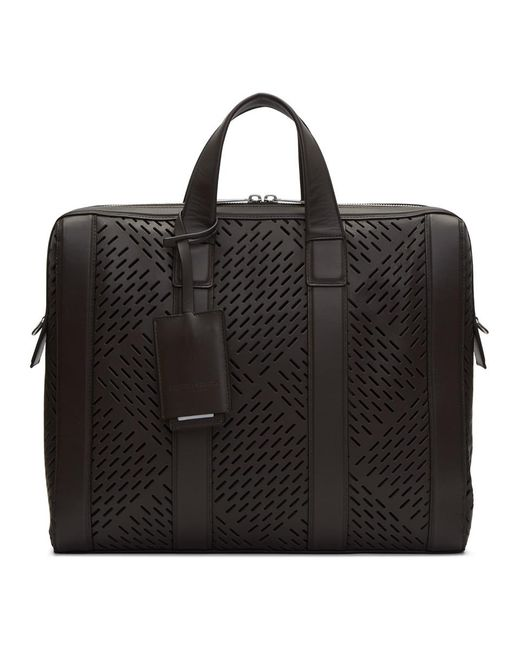 Bottega Veneta Black Brown Perforated Briefcase for men