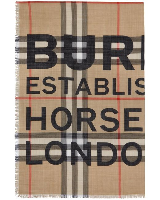 メンズ Burberry ベージュ ガーゼ ジャイアント チェック スカーフ Multicolor
