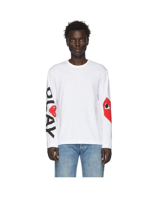 メンズ COMME DES GARÇONS PLAY ホワイト ビッグ ハート ロング スリーブ T シャツ White
