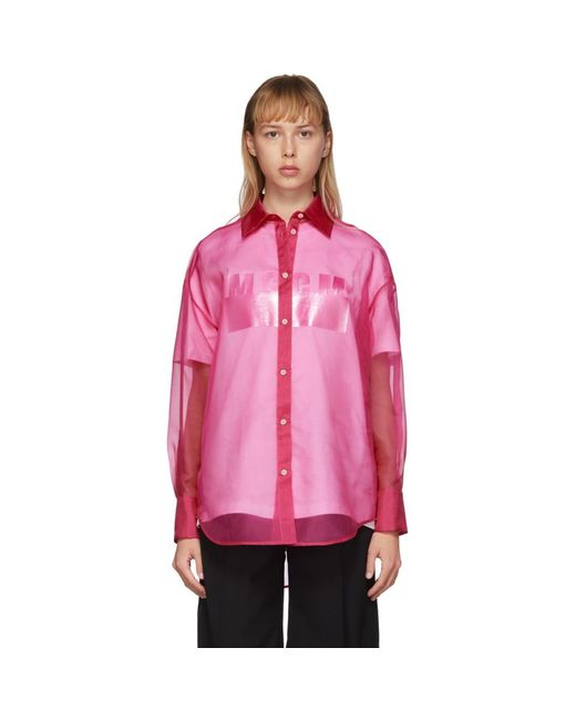 MSGM ピンク シルク シア シャツ Pink