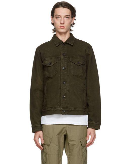 Rag & Bone Definitive Jean Jacket Classic Fit Dark Green Jean Jacket for men