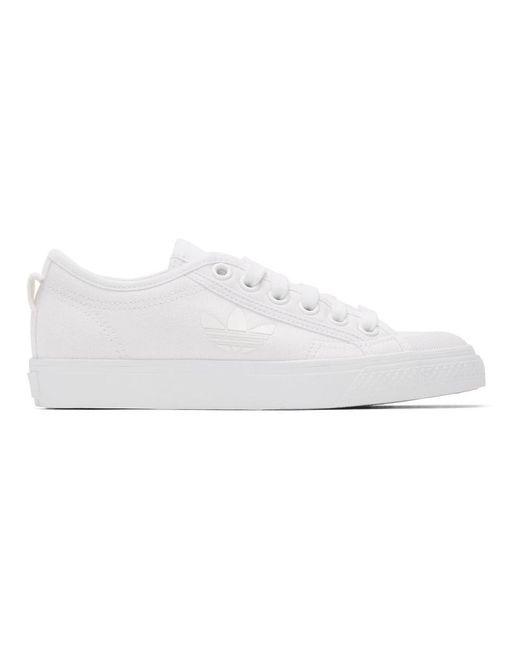 Adidas Originals ホワイト ニッツァ トレフォイル スニーカー White
