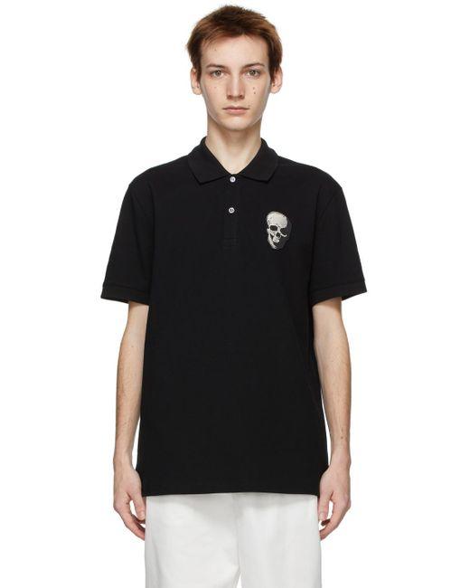 メンズ Alexander McQueen ブラック Skull Badge ポロシャツ Black