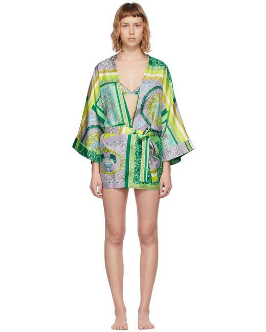 Versace マルチカラー Barocco Mosaic ローブ Green