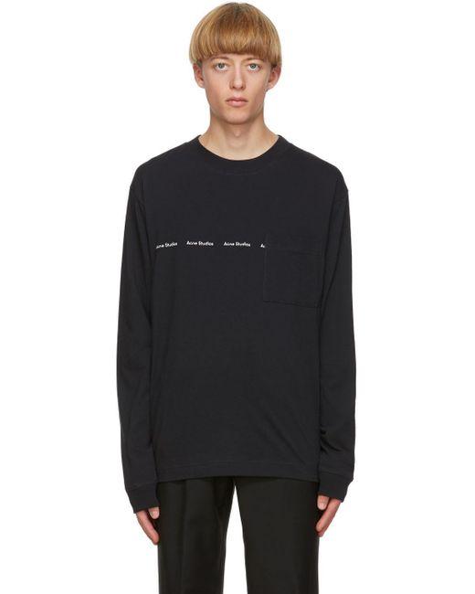 メンズ Acne ブラック ロゴ ロング スリーブ T シャツ Black