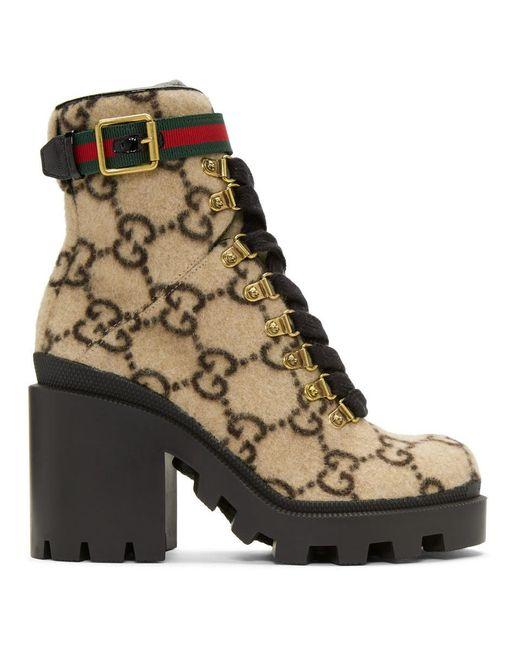 Gucci ベージュ ウール GG ブーツ Natural