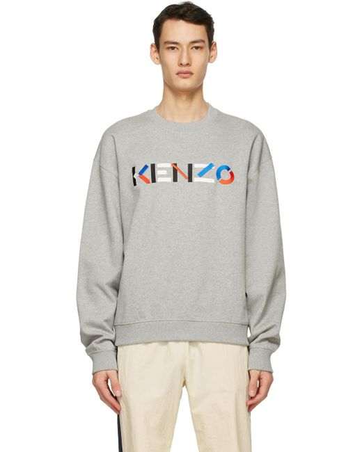 メンズ KENZO グレー オーバーサイズ ロゴ スウェットシャツ Gray
