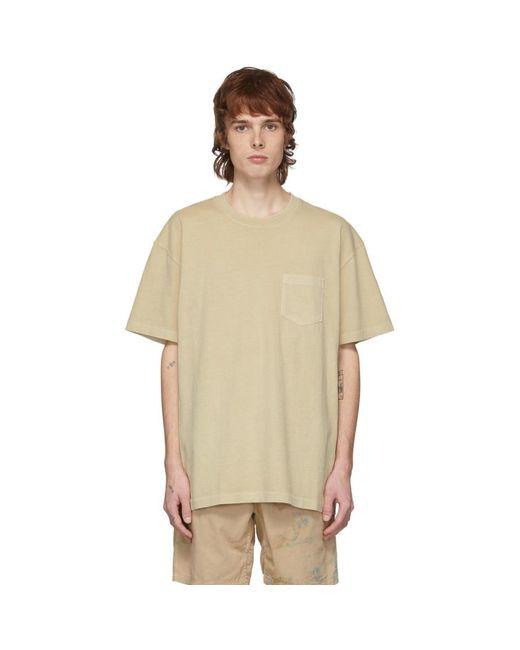 メンズ John Elliott タン ルース ステッチ ポケット T シャツ Multicolor
