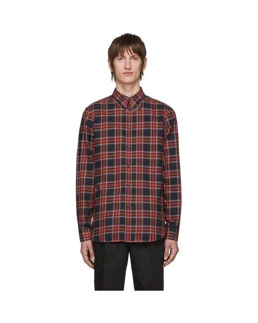 メンズ Givenchy レッド And ブラック チェック Piercing シャツ Red