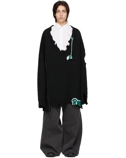 Raf Simons ブラック オーバーサイズ Destroyed Rena セーター Black