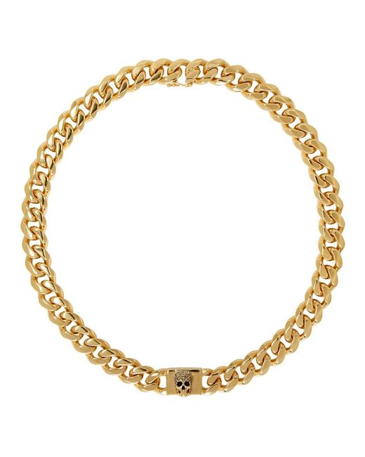 Alexander McQueen Multicolor Gold Chain Skull Necklace