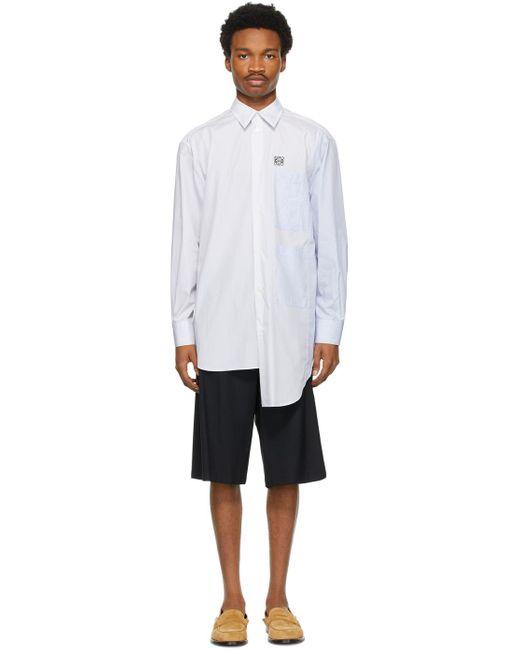 メンズ Loewe ブルー Asymmetric Multi ポケット シャツ White