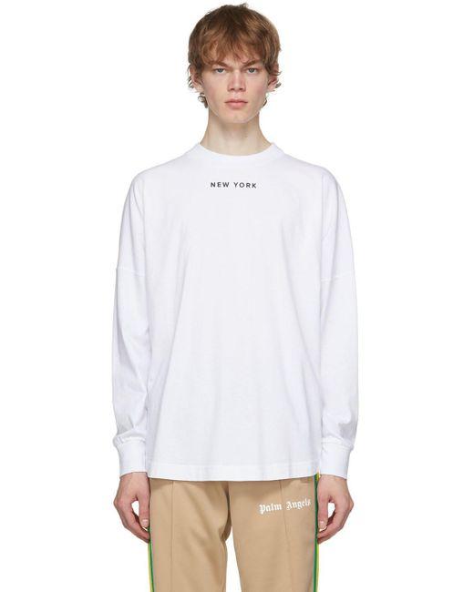 Palm Angels White Sprayed Logo 'new York' Long Sleeve T-shirt for men